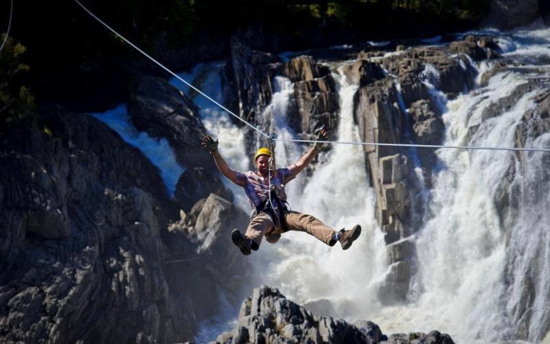 Ziplining at ZipZag at Grand Falls, New Brunswick, Canada.