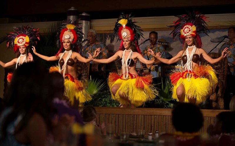 Advertising Lifestyle Resorts B-Roll Royal Pacific Resort Character Dining Islands Dining Room Luau characters Minions Images captured during filming with Adrenaline Films